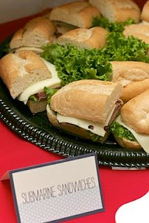 Submarine Sandwiches...Spinach artichoke dip is Seaweed spread.  Chicken Fingers with a tail cut out are fish.