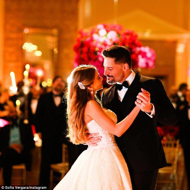 So in love: Joe and Sofia gazed adoringly at each other as they took their first dance as husband and wife