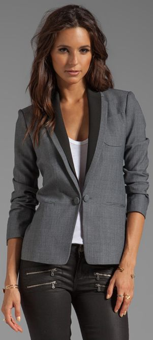 Theory Donelly Jacket on white, black, grey outfit