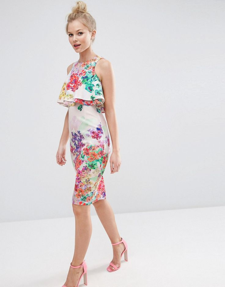 Image 4 of ASOS PETITE Double Ruffle Floral Crop Top Midi Pencil Dress