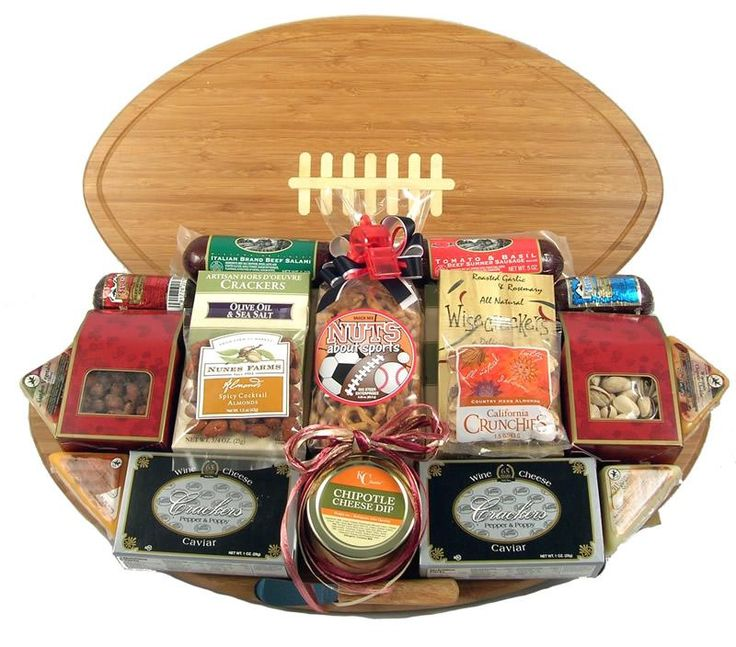 Halftime Favorites, Football Gift Basket with Deluxe Cutting Board