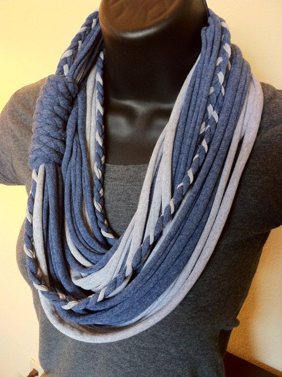 Etsy tshirt scarves | Jersey Scarf- T-Shirt Scarf - Infinity Scarf- Jean Style Combo- Blue ...