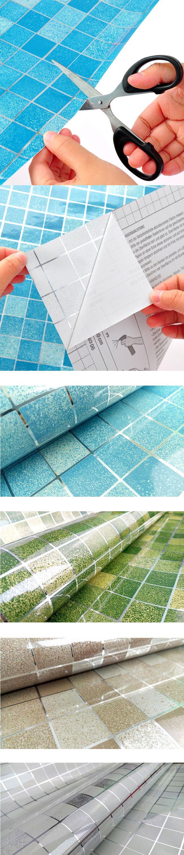 45xcarta da parati bagno 500 centimetri della parete del PVC della cucina mosaico foglio di alluminio impermeabile autoadesiva