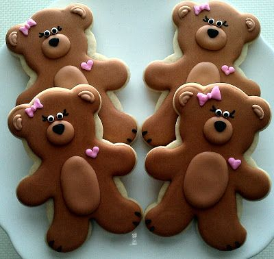 Teddy Bear Cookies so cute for boy or girl!