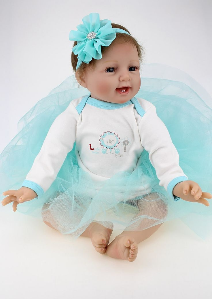 (61.90$)  Buy here - http://aiebz.worlditems.win/all/product.php?id=32794483735 - 55cm Soft Silicone Reborn Dolls Lifelike Baby 22inch Full Body Silicone Reborns For Sale Boneca Reborn Realista Child Girls Toys
