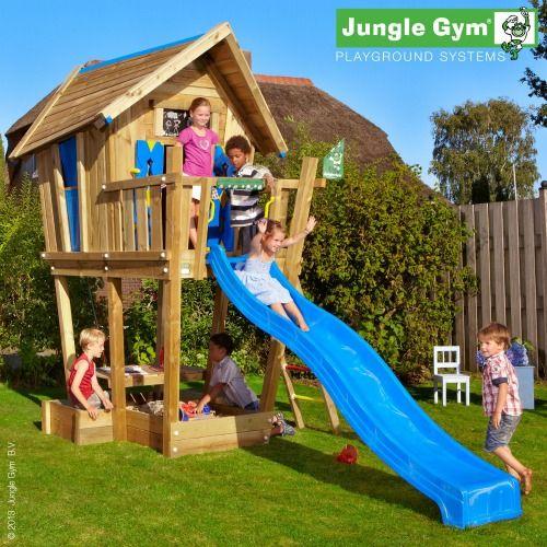 Jungle Gym Crazy Playhouse CXL with Slide - Wooden Kids Climbing Frames : Wooden Climbing Frames for children