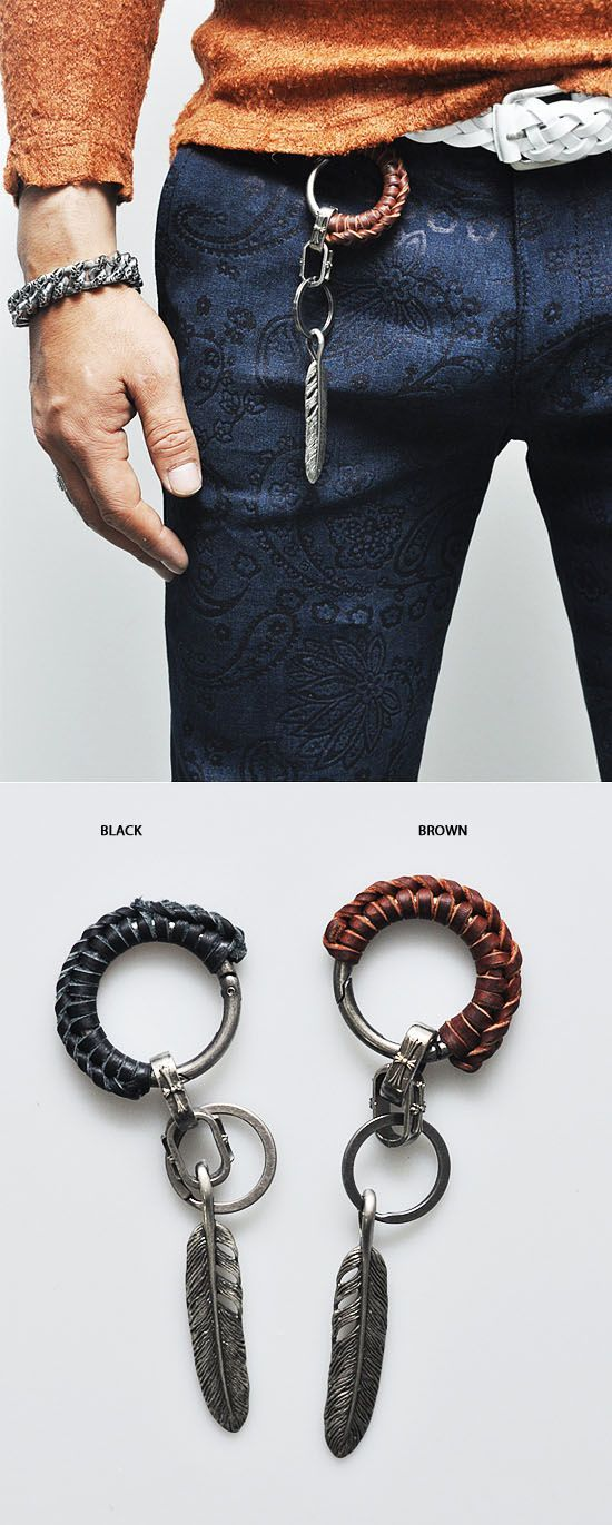 Leather Coil Antique Leaf Keychain-Gadget 35 - Mens Fashion Clothing For An Attractive Guy Look.