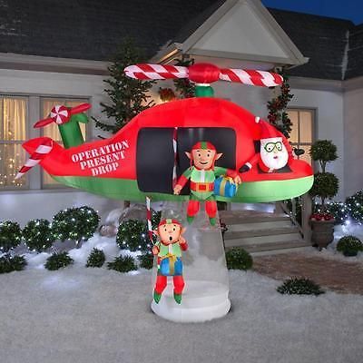 Christmas Inflatable Santa Elves Helicopter Animated Outdoor Garden Yard Decor