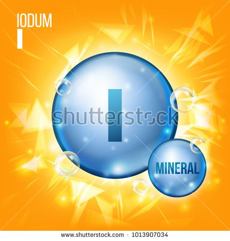 I Iodum Vector. Mineral Blue Pill Icon. Vitamin Capsule Pill Icon. Substance For Beauty, Cosmetic, Heath Promo Ads Design. 3D Mineral Complex With Chemical Formula. Illustration