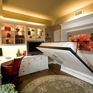 Office/guest room idea. I DID always want a Murphy bed... and this would make it easier if we can only find/afford a decent two bedroom place instead of a three bedroom.