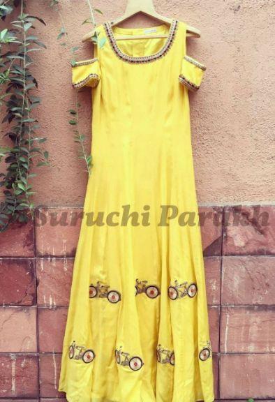 Cold shoulder dress with zardosi bicyvle motifs by Suruchi Parakh