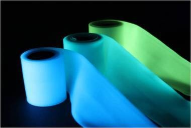This durable, tear resistant glow in the dark polymer strip gives off a bright glow at night, offering both safety and design possibilities. With 5-30 minute exposure to bright light or sunshine, this material will emit a visible glow for over 8 hours. The ribbon material is extremely light stable with no loss of illumination over many years of use.