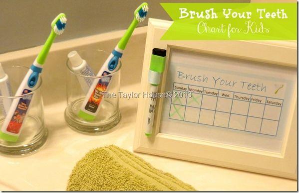 How to Make a Cute Printable Kids Chart for brushing teeth
