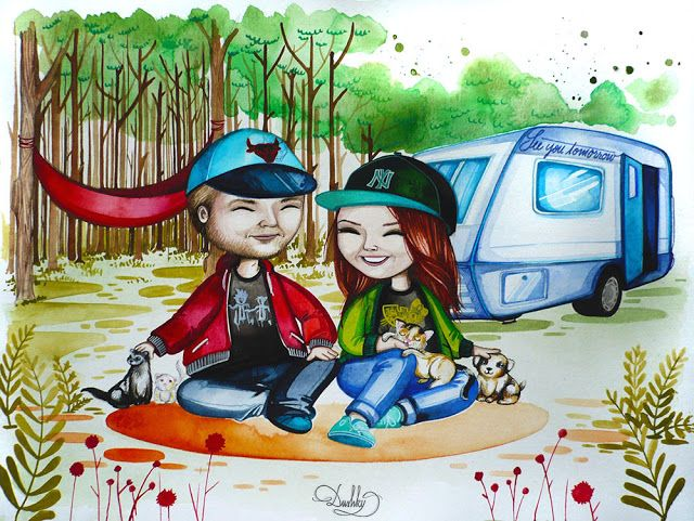portrait by #dushky | #art #illustration #painting #portrait #couple #love #camping