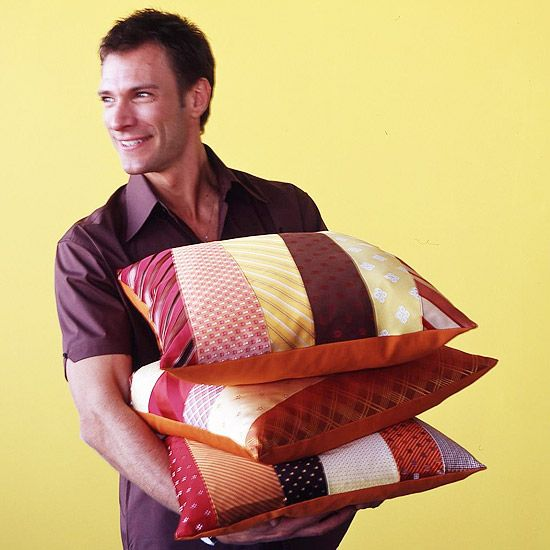 Father's Day ----- Pillows Made with Ties...sew the ties together to create a 19-inch square pillow