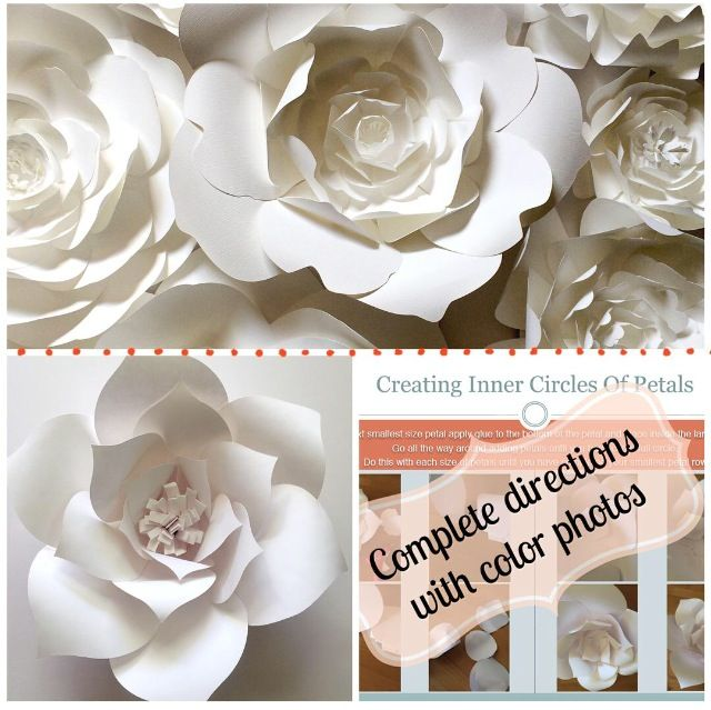 DIY Paper Flower Template - Create your own paper flower wall, backdrop or home decor. Templates and easy to follow instructions included.
