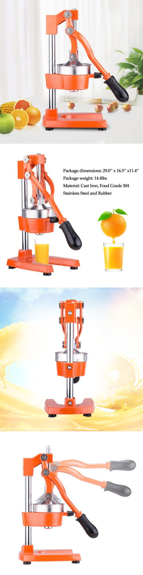 Juicers 20677: Cast Iron Construction Commercial Grade Manual Fruit Juicer Machine In Orange -> BUY IT NOW ONLY: $38.89 on eBay!