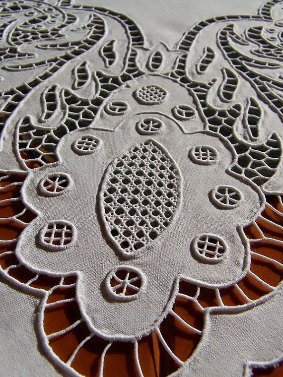 Linen cutwork / whitework embroidery - Lovely and crisp!