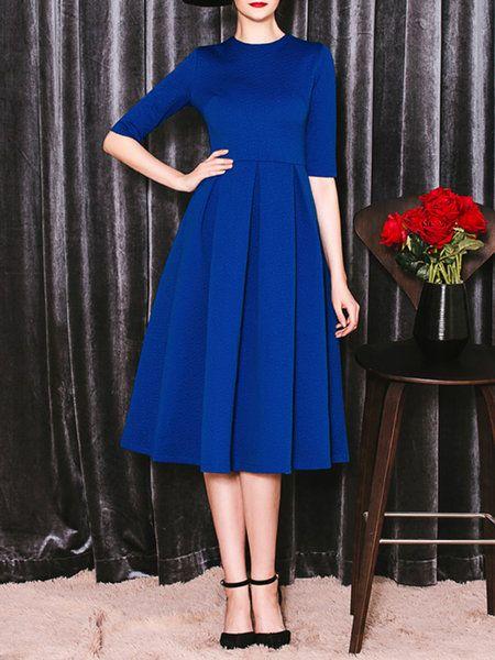 Elegant Midi vestido azul rey de manga 3/4 tableado, muy elegante