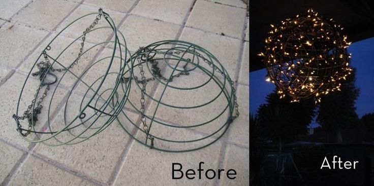 Materials  2 x wire hanging basket frames with chains removed 4 x cable/pull ties can of silver spray paint fairy/christmas lights. pliers Step 1:  Remove chains from the baskets. Fasten the two baskets together with the cable ties to create a sphere. Cut the tails off of the cable ties. Spray entire sphere with silver paint. This isn't all that necessary but when the lights bounces off the baskets it looses its former image of the 'hanging basket' when it is painted.