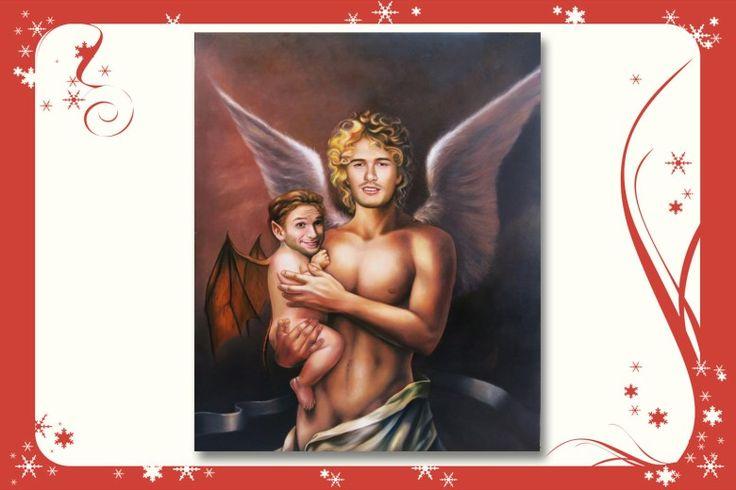 Wie himmlisch, James Franco als Engel mit Flattermann Seth Rogan auf dem Arm. Porträt von Nobilified