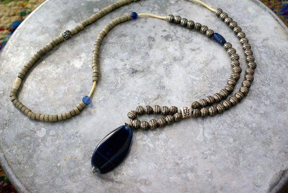 Blue Agate Necklace Pendant Necklace Statement Necklace Long