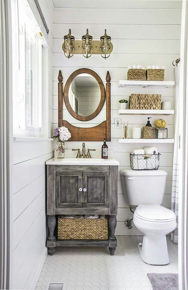 this tiny bathroom got a big ol countrified makeover rustic bathroomscountry style - Bathroom Ideas Country Style