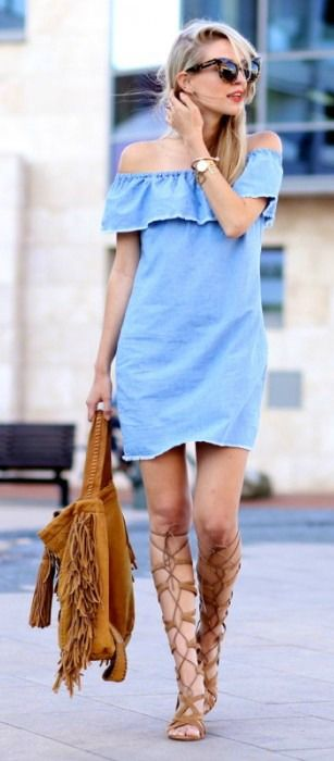Chambray off the shoulder + lace up sandal.                              …