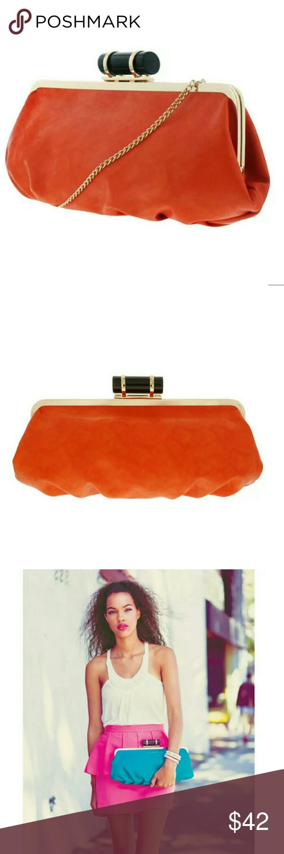 "Melie Bianco oversized clutch / cross body Pleated Clutch *Cylinder push lock *Chain handle detail *Handle Drop: 10 inch additional strap *Dimensions: 10.5""L x 6""H Melie Bianco Bags Clutches & Wristlets"