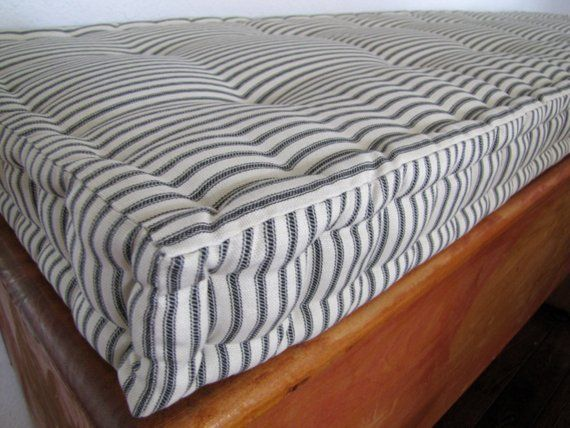 Marvelous Custom Bench Cushion Black Ticking Stripe Window Seat Caraccident5 Cool Chair Designs And Ideas Caraccident5Info