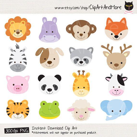 Animal Face Clipart Animal Head Clipart Cute Animal Clipart Etsy Hayvan Bebekler Hayvan Baslari Cok Sirin Hayvanlar