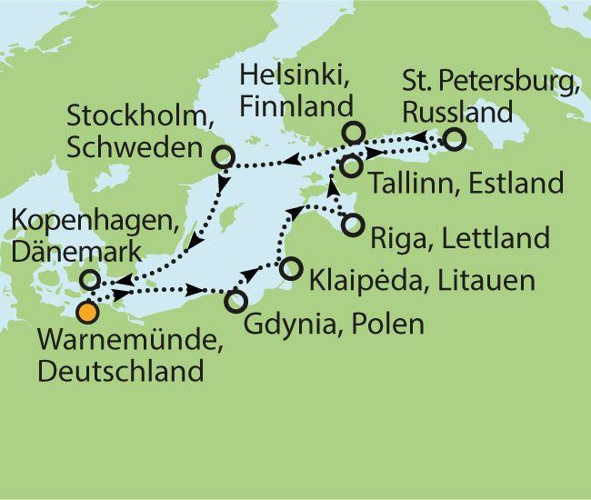MSC MAGNIFICA – GROSSE NORDLANDREISE ZUM HAMMERPREIS  11  Nächte Zielgebiet: DEUTSCHLAND - POLEN - LITAUEN - LETTLAND - ESTLAND - RUSSLAND - FINNLAND - SCHWEDEN - DÄNEMARK - DEUTSCHLAND