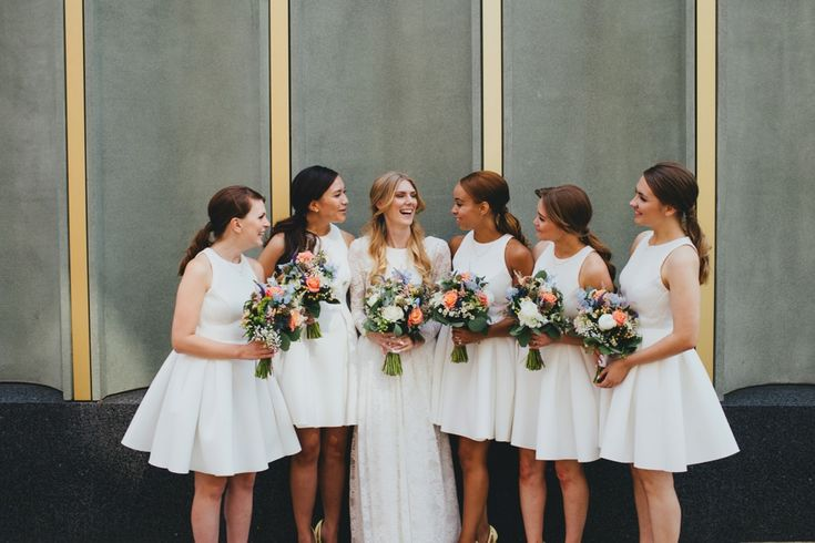Images by Dale Weeks Photography - Bespoke Lace Wedding Dress | ASOS Bridesmaid Dresses | Nottingham Contemporary Wedding Venue | Greenery & Peach Florals | Dale Weeks Photography | http://www.rockmywedding.co.uk/annie-kieran/