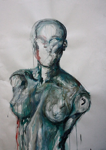 Inky mannequin, Ink on Watercolour Paper, 70 X 90