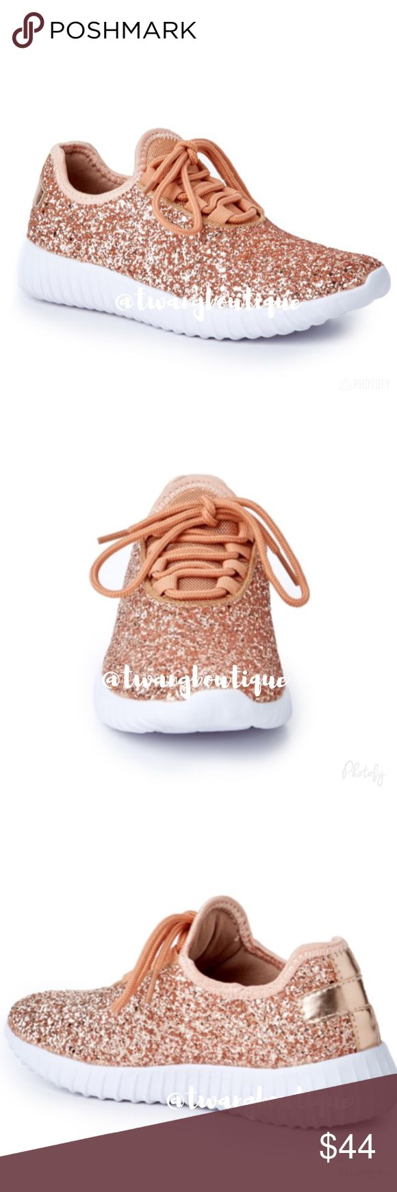 Sale! << Rose Gold Glitter Sparkle Shine Shoes Sparkle, shine and stand out in these shoes! These babies are comfy and will make any outfit look so glam! Fit true to size. Available in whole sizes only, so if you are a half size go a size up. Use these tennis shoes for athletic functions and look fly up in that gym! Or wear them on a casual day around town and sparkle! Also available in silver and black. Boutique Shoes