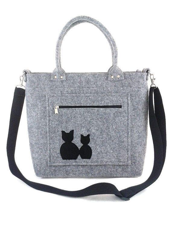 Handbag Felt purse Bag for women Grey bag Cat bag by Torebeczkowo, #Cathandbag #Feltpurse  #graybag, #feltcatbag