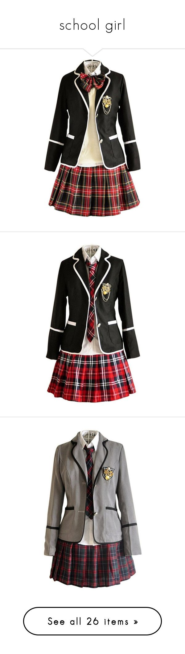 """""""school girl"""" by smile2528 ❤ liked on Polyvore featuring dresses, uniform, costumes, cosplay, outfits, outfit, role play costumes, womens cosplay costumes, ladies costumes and cosplay halloween costumes"""