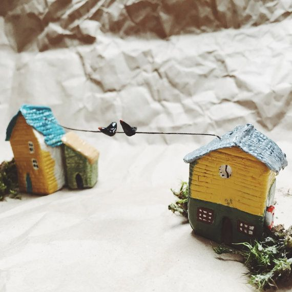 Tiny little houses with birds by milkypeople on Etsy