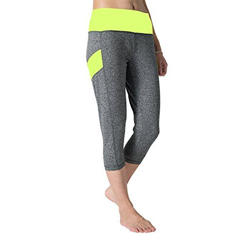 Stanfer Yoga Capris Pants Ladies Tight Fitness High Waist Workout Gym Wears Jogging Pilates Cropped Trousers for Women M fluorescent green * See this great product.