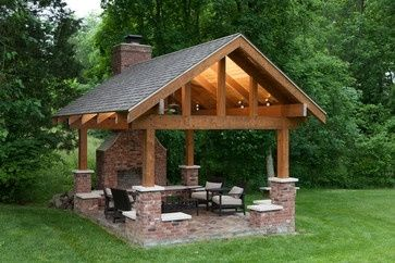 covered patio with fireplace