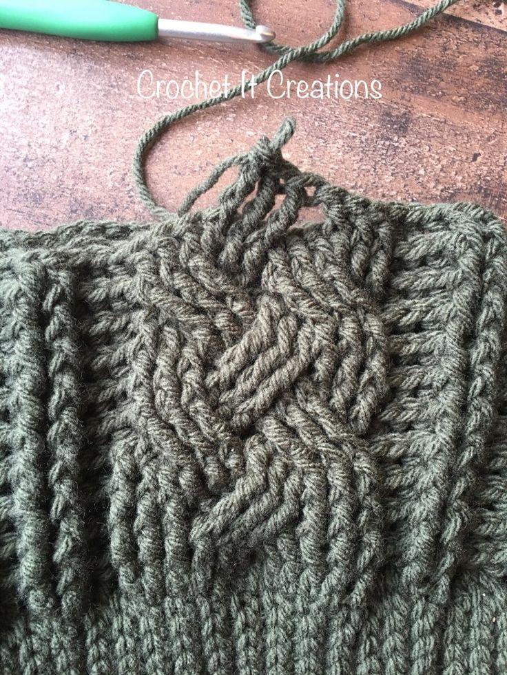 Padrão de Crochet Beanie Cabo trançado