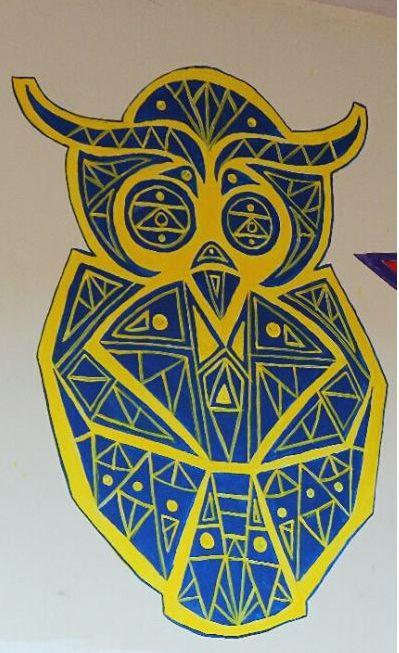 mural de búho_ diseño geometrico
