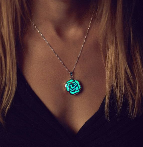 Rose Necklace Leaf Glow in the Dark Necklace Glow by EpicGlows