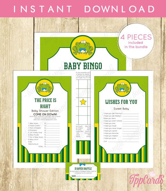 Instant Download Frog Baby Shower Games Pack Yellow Green Frog Bingo Game Frog Price Is Right Frog Wishes for Baby Diaper Raffle by TppCardS #tppcards