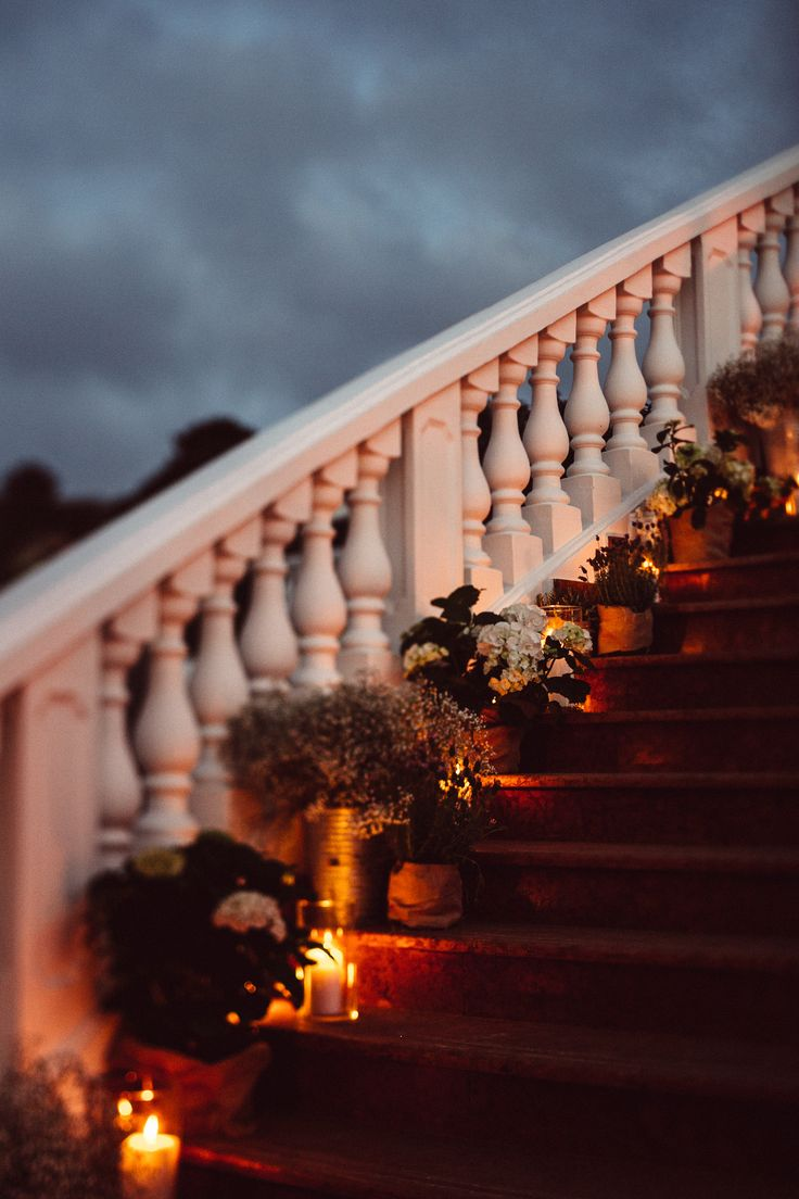 elegant wedding decor staircase; Hotel Villa Belrose wedding St. Tropez, France; PHOTOGRAPHY Joel + Justyna Bedford;