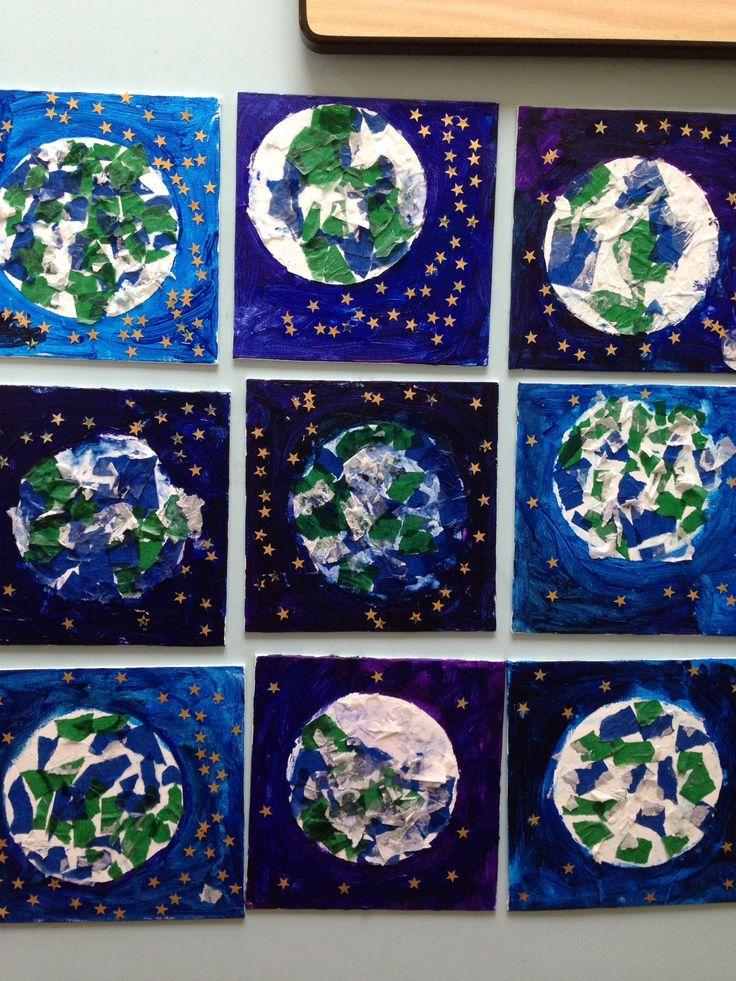 Gemaakt door kinderen van groep 1-3 thema, Heelal, collage van de aarde