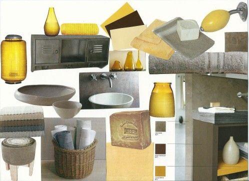 17 meilleures id es propos de salles de bains gris jaune for Carrelage salle de bain jaune