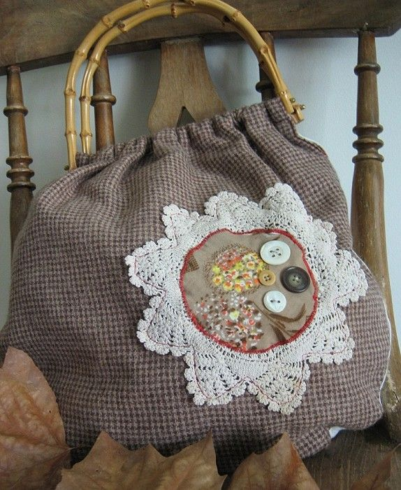 Vintage Bamboo Handles Wool & Doily Bag