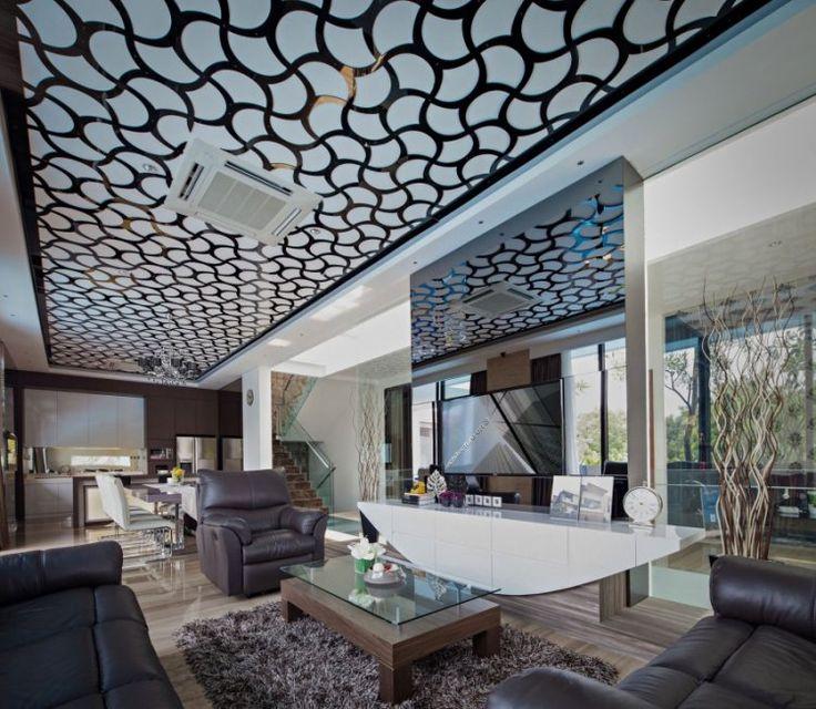faux plafond design dans le salon moderne mobilier en cuir marron et table basse en