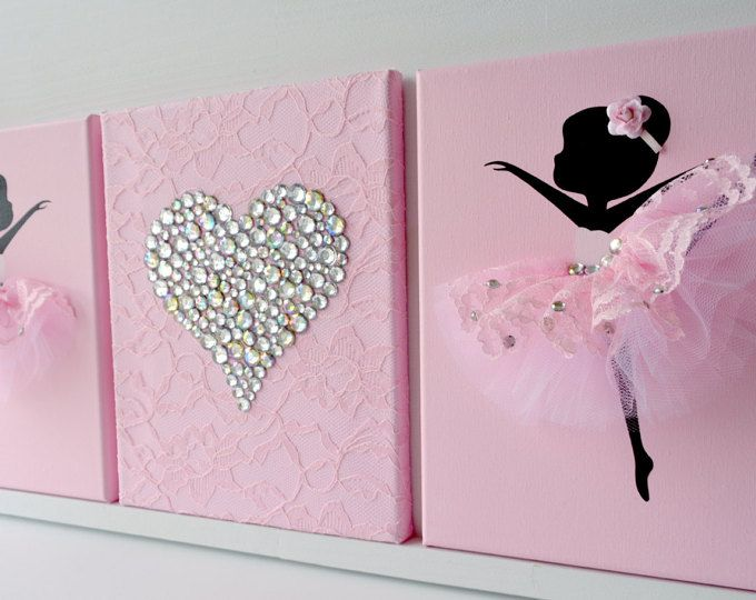 Set of three handmade canvases with Dancing Ballerinas in white and aqua blue tutus. Each canvas is 10 X 10. The background and ballerinas are painted with acrylic paint.  Dancers are decorated with tulle dresses, silk ribbons and pearl beads.   Cute gift idea for baby shower or any ballerina lover.  Custom orders are always welcome.